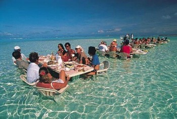 Restaurant In Water at The Beach