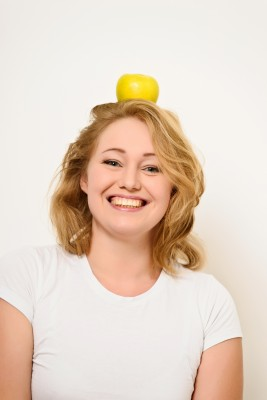 Woman with Apple On Head | Fearless Fat Loss dot com